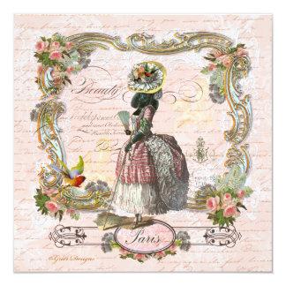 Schwarzer Pudel in Marie Antoinette Kostüm Individuelle Einladung