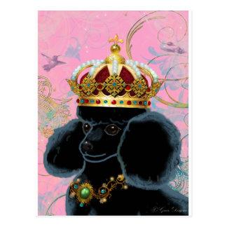 Schwarzer Pudel-König mit Krone Postkarte