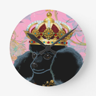 Schwarzer Pudel-König mit Krone Wanduhren