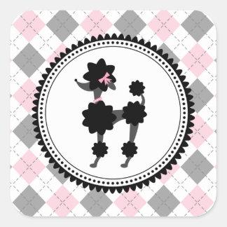 Schwarzer Pudel-/Rosa-u. Grau-Rauten-Aufkleber
