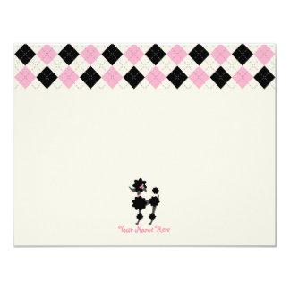 Schwarzer Pudel/Rosa-u. Schwarz-Raute flaches 10,8 X 14 Cm Einladungskarte
