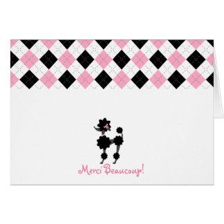 Schwarzer Pudel-rosa u. schwarze Raute danken Ihne Grußkarten