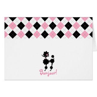 Schwarzer Pudel-rosa u. schwarze Raute Notecard Mitteilungskarte
