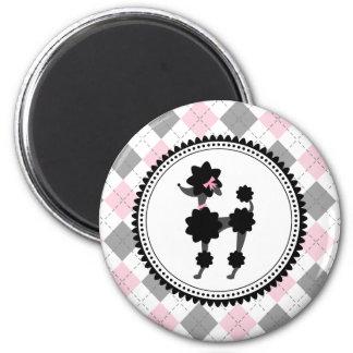 Schwarzer Pudel/Rosa-und Grau-Raute Runder Magnet 5,7 Cm