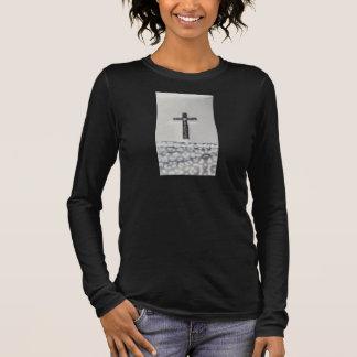 Schwarzer querer langer Hülsen-Shirt-Frauen Langarm T-Shirt