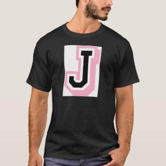 schwarzer rosa Buchstabe J T-Shirt