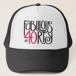 Schwarzer roter Hut fabelhafte 40 Truckerkappe