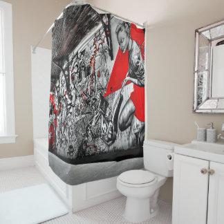 Schwarzer, roter und weißer duschvorhang