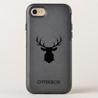 Schwarzer Rotwild-Kopf mit Geweih-Silhouette OtterBox Symmetry iPhone 8/7 Hülle