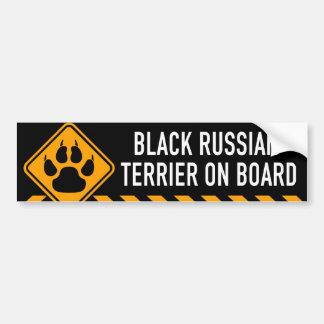 Schwarzer Russe Terrier an Bord Autoaufkleber
