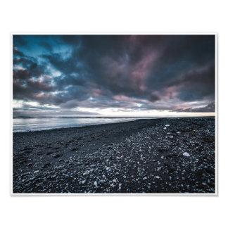 Schwarzer Sand-Strand Fotodruck