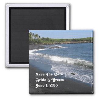 Schwarzer Sand-Strand-Save the Date Magnet