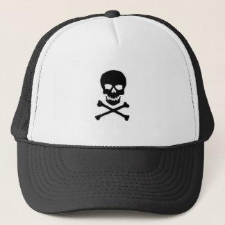 schwarzer Schädel und crossbone Hut Truckerkappe