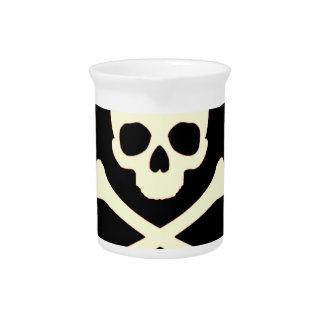 schwarzer Schädel und Knochen Krug