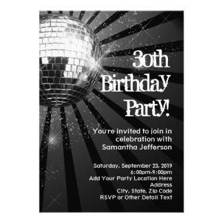 Schwarzer Schein-Disco-Ball-30 Geburtstags-Party Personalisierte Ankündigungen