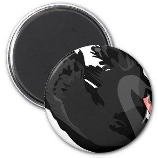 schwarzer Schwan Runder Magnet 5,7 Cm