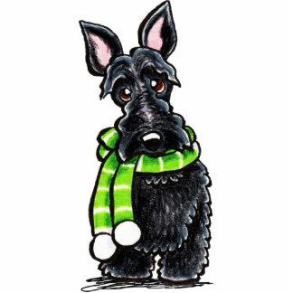 Schwarzer Scottie-glücklicher Winter-Schal Fotoskulptur Magnet