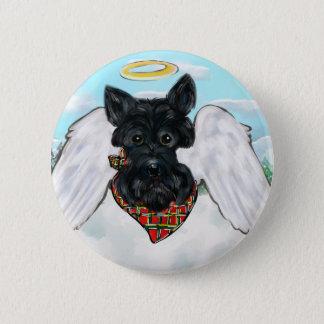 Schwarzer Scottish-Terrier-Engel Runder Button 5,1 Cm