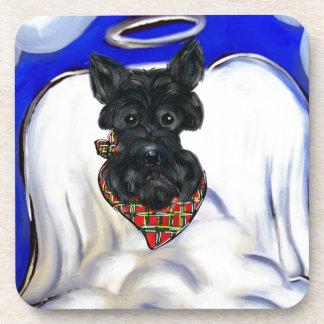 Schwarzer Scottish-Terrier-Engel Untersetzer