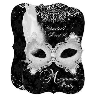 Schwarzer silberner Damast-Masken-Maskerade-Bonbon Karte