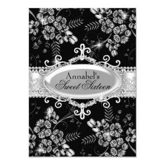 Schwarzer silberner Schein-Blumen-Bonbon 16 laden 11,4 X 15,9 Cm Einladungskarte