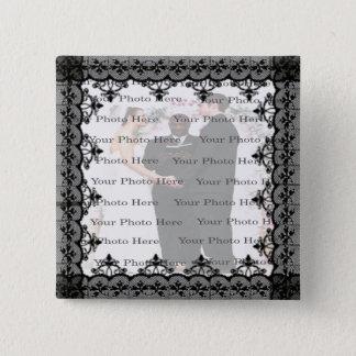 Schwarzer Spitze-Quadrat-Foto-Knopf Quadratischer Button 5,1 Cm