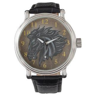 Schwarzer Stallion Armbanduhr