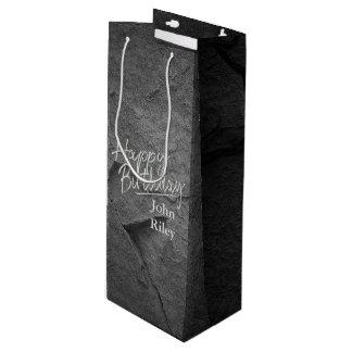 schwarzer Steinschiefer Geschenktüte Für Weinflaschen
