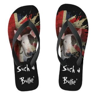 Schwarzer Stier-Terrier-Gewerkschafts-Jack drehen Flip Flops