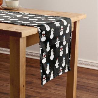 Schwarzer Tabellenläufer weißes niedliches Snowman Großer Tischläufer