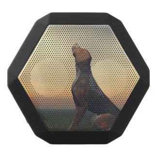 Schwarzer tan Hund, der ein Vogelfliegen schaut Schwarze Bluetooth Lautsprecher