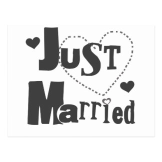 Schwarzer Text mit dem Herzen gerade verheiratet Postkarte
