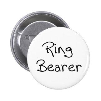 Schwarzer Text-Ring-Träger Runder Button 5,1 Cm