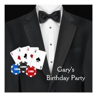 Schwarzer Tuxedo bemannt Poker-Geburtstags-Party Personalisierte Einladungskarten