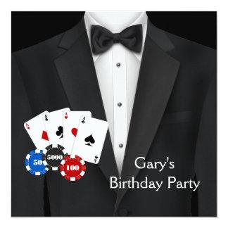 Schwarzer Tuxedo bemannt Poker-Geburtstags-Party Quadratische 13,3 Cm Einladungskarte