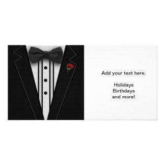 Schwarzer Tuxedo mit Bogen-Krawatte Fotokartenvorlage
