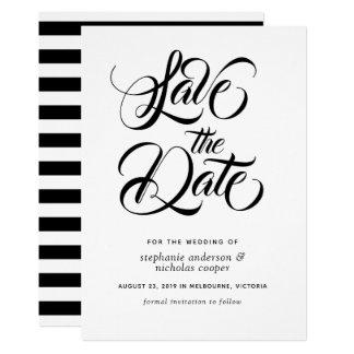 Schwarzer Typografiebürstentext Save the Date Karte