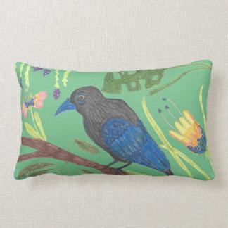 Schwarzer u. blauer Paradiesvogel Lendenkissen