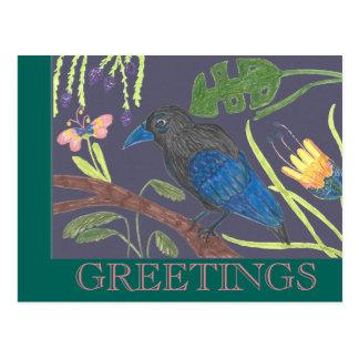 Schwarzer u. blauer Paradiesvogel Postkarte