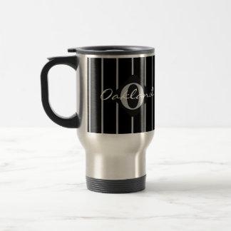 Schwarzer u. grauer Streifen-Reise-Kaffee Reisebecher