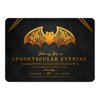 Schwarzer u. orange Schläger Spooktacular Abend 12,7 X 17,8 Cm Einladungskarte