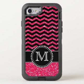 Schwarzer u. rosa Glitter-Zickzack mit Monogramm OtterBox Defender iPhone 8/7 Hülle
