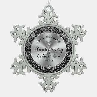 Schwarzer u. silberner 25. Hochzeitstag Paisleys Schneeflocken Zinn-Ornament
