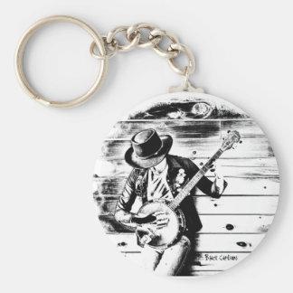 Schwarzer u. weißer Banjo-Mann - Schlüsselring Schlüsselanhänger
