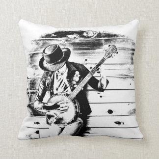 Schwarzer u. weißer Banjo-Mann - werfen Sie Kissen