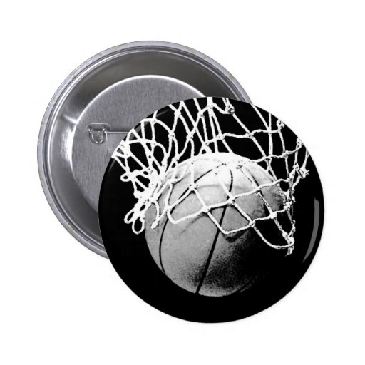 Schwarzer u. weißer Basketball Anstecknadelbutton