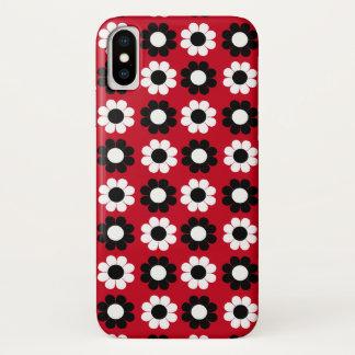 Schwarzer u. weißer Blumen-Power iPhone X Hülle