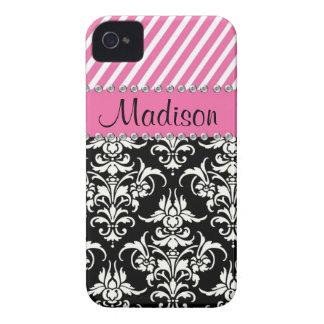 Schwarzer u. weißer Damast/rosa Case-Mate iPhone 4 Hüllen
