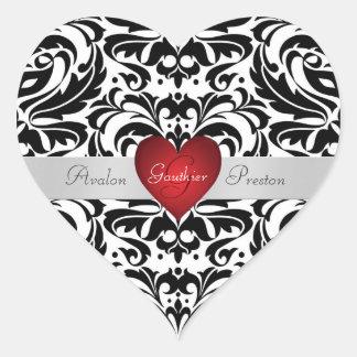 Schwarzer u. weißer Damast-roter Herz-Hochzeits-Au Herzaufkleber