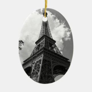 Schwarzer u. weißer Eiffelturm in Paris Keramik Ornament